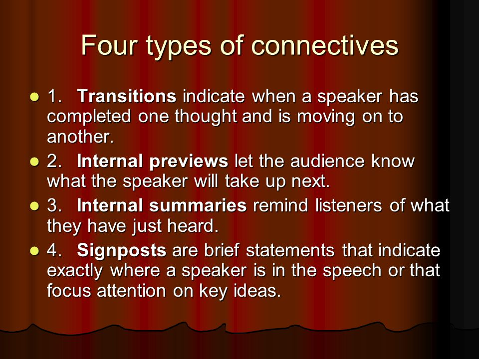 Four types of connectives