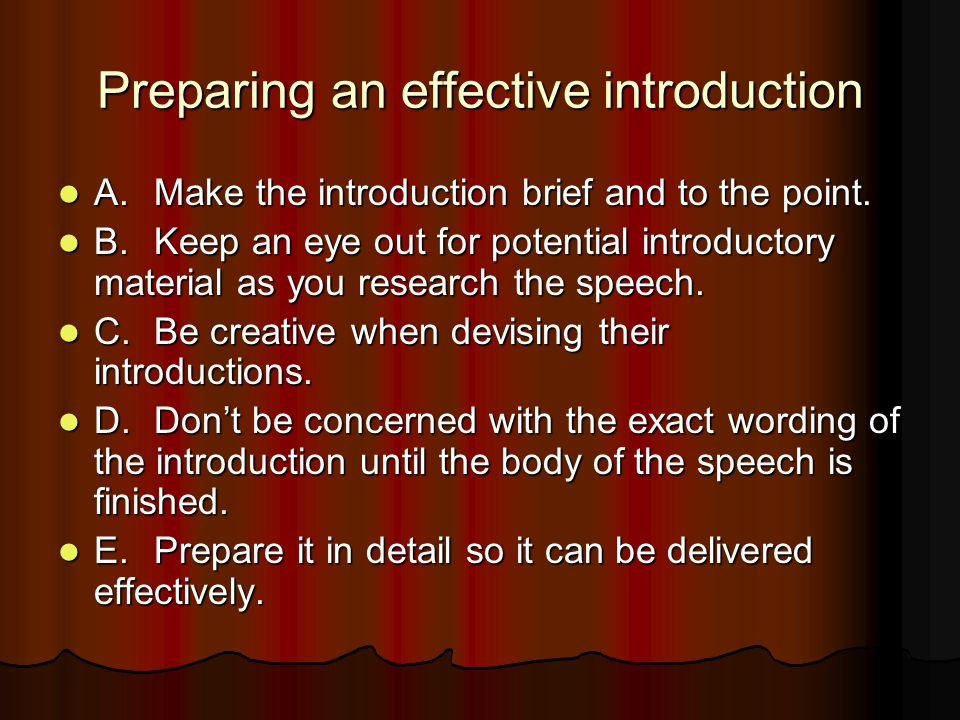 Preparing an effective introduction