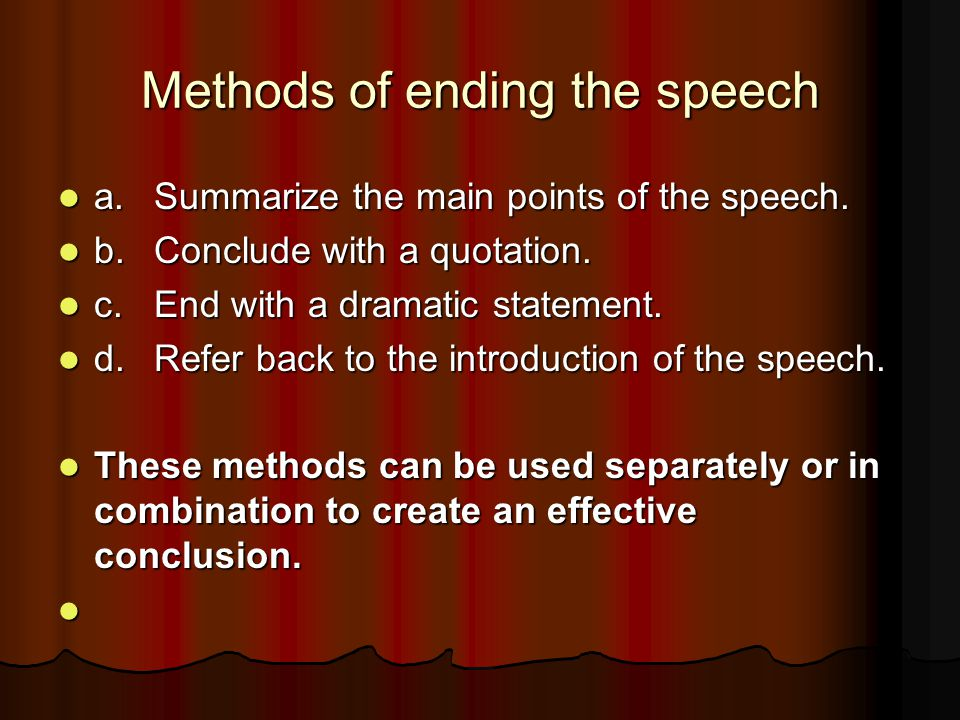 Methods of ending the speech