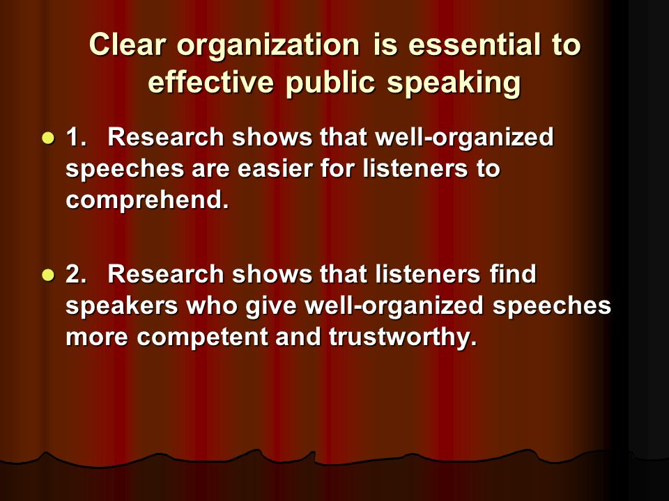 Clear organization is essential to effective public speaking