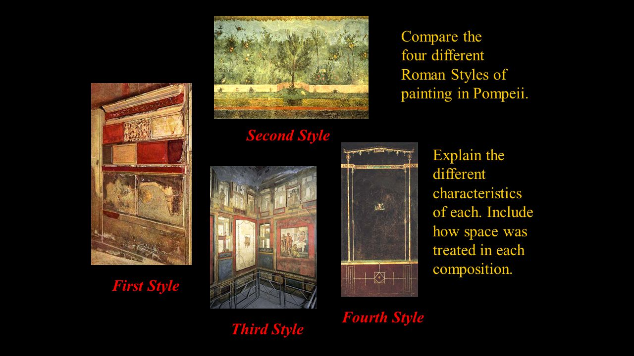 Compare the four different. Roman Styles of. painting in Pompeii. Second Style. Explain the. different.