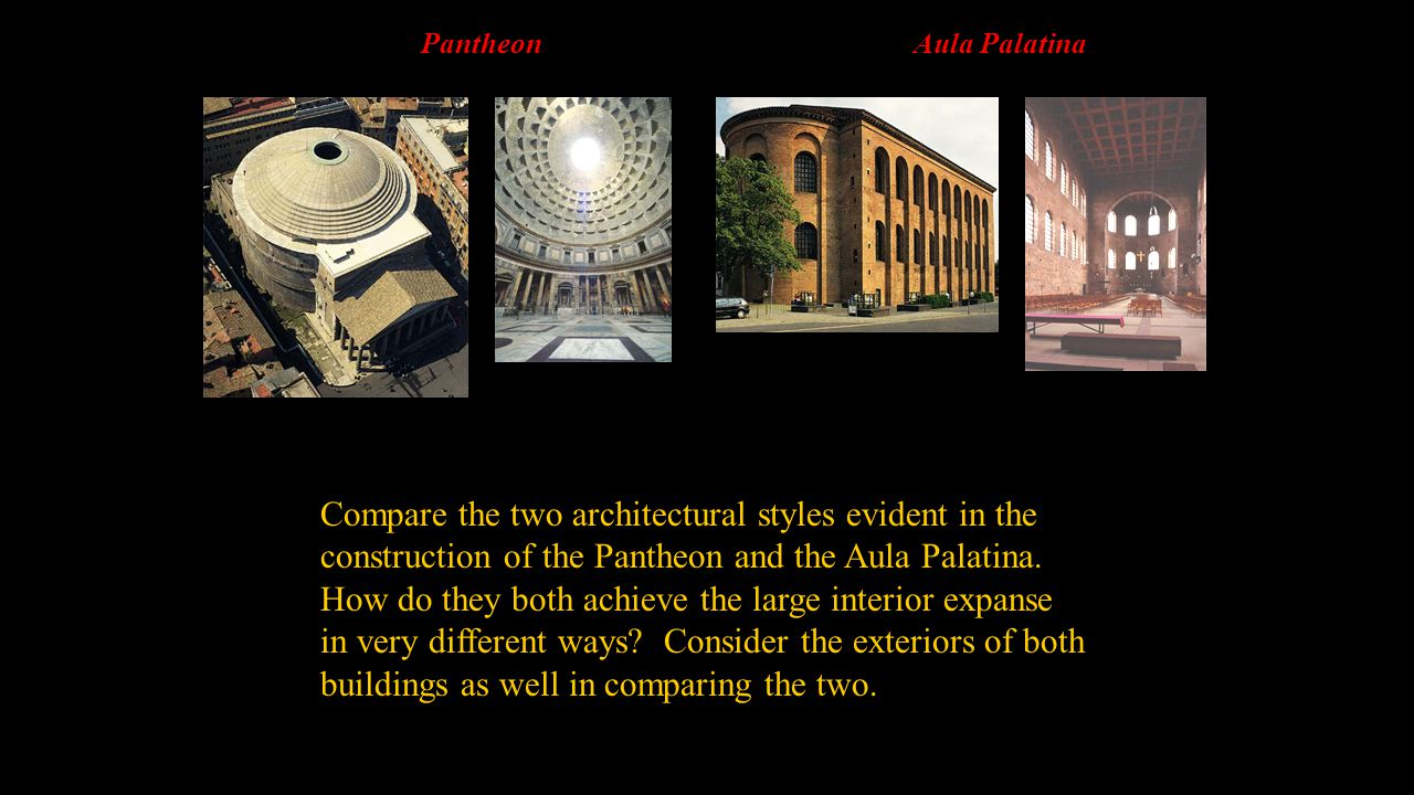 Compare the two architectural styles evident in the
