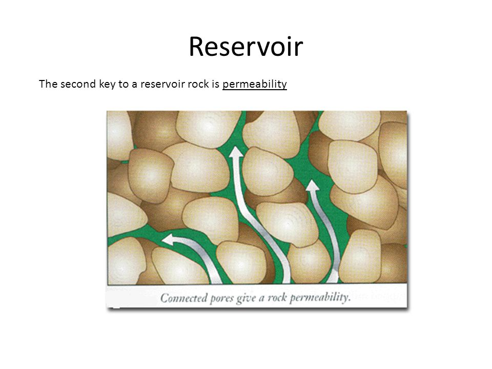 Reservoir The second key to a reservoir rock is permeability
