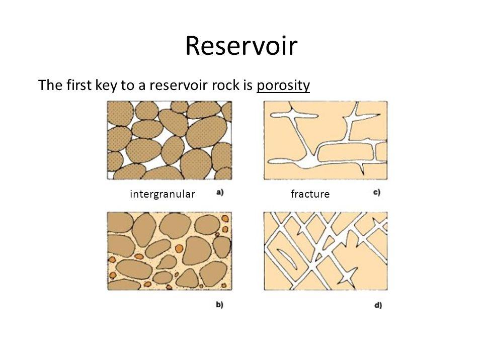 Reservoir The first key to a reservoir rock is porosity intergranular