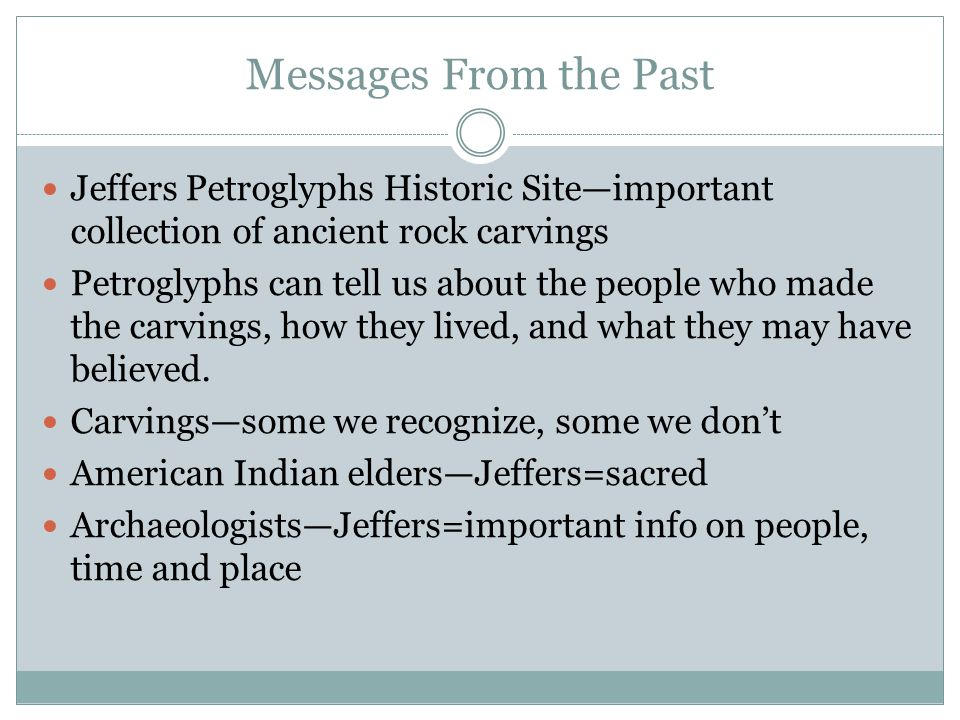 Messages From the Past Jeffers Petroglyphs Historic Site—important collection of ancient rock carvings.