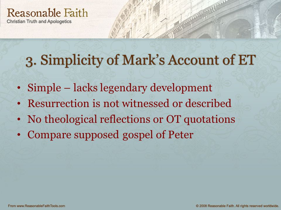 3. Simplicity of Mark's Account of ET