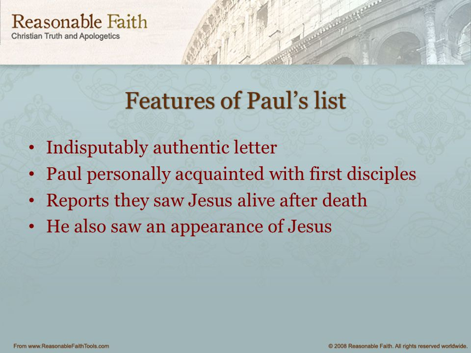 Features of Paul's list