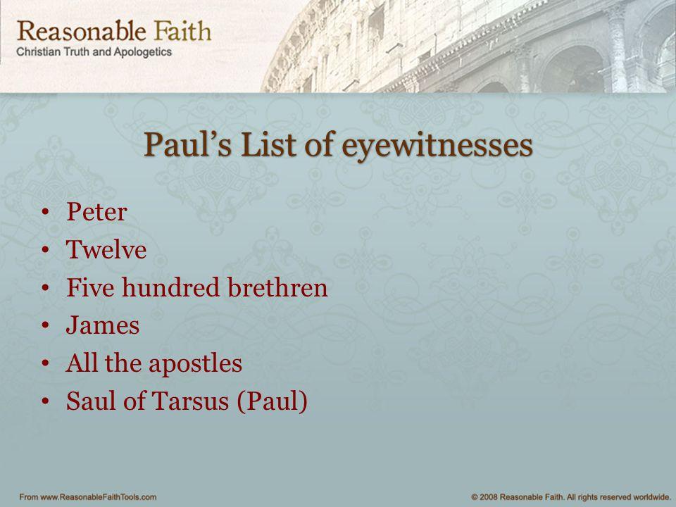 Paul's List of eyewitnesses