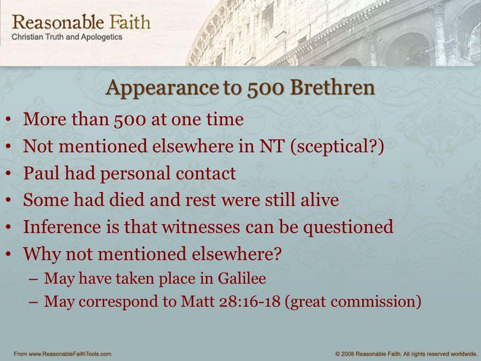 Appearance to 500 Brethren