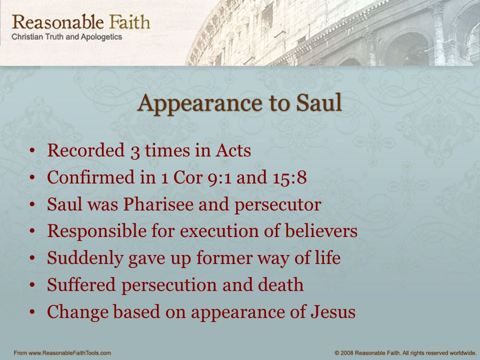 Appearance to Saul Recorded 3 times in Acts