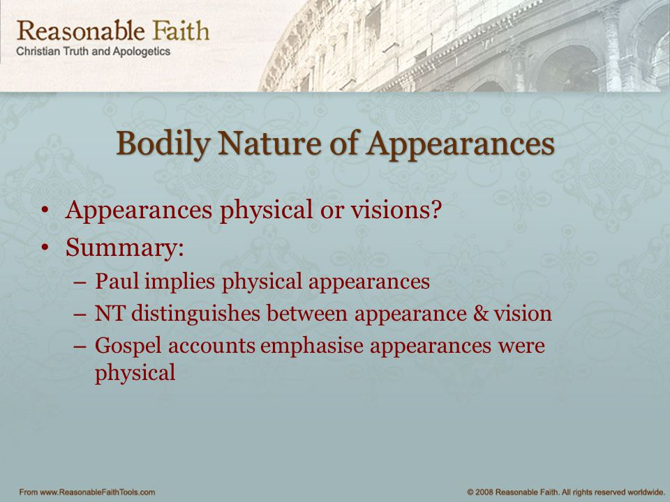 Bodily Nature of Appearances