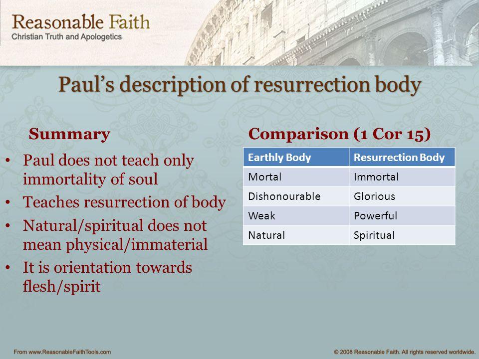 Paul's description of resurrection body