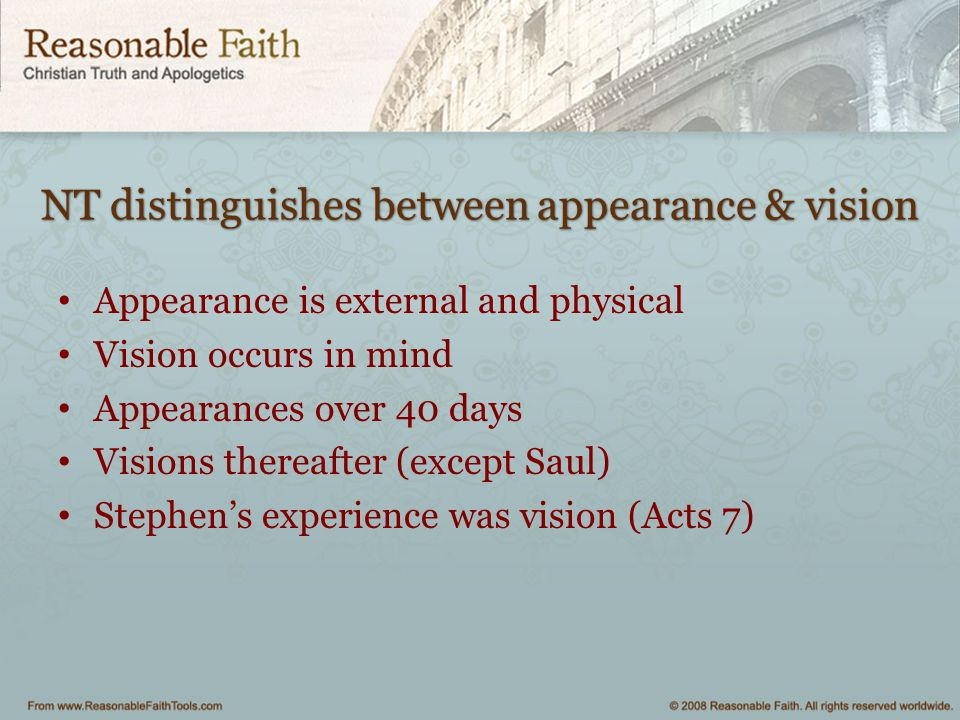 NT distinguishes between appearance & vision