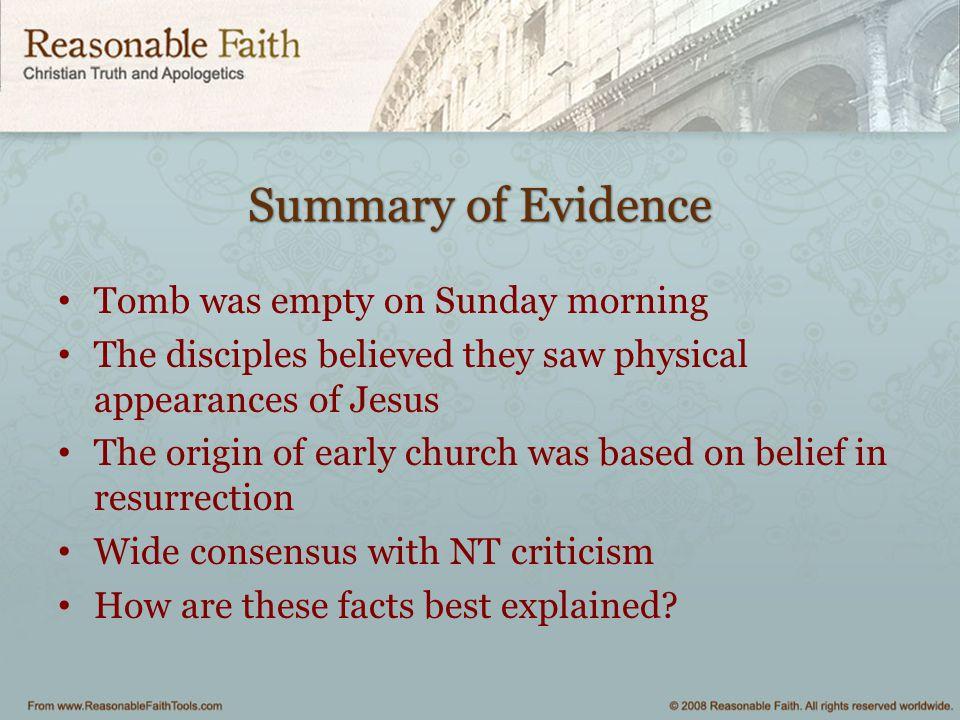 Summary of Evidence Tomb was empty on Sunday morning