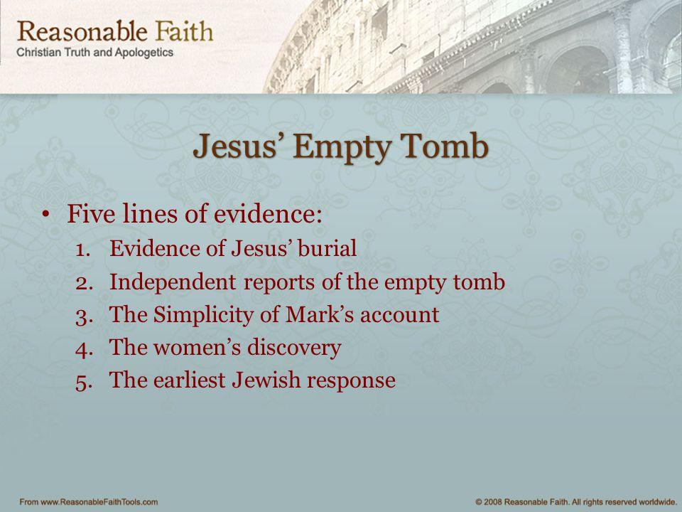 Jesus' Empty Tomb Five lines of evidence: Evidence of Jesus' burial
