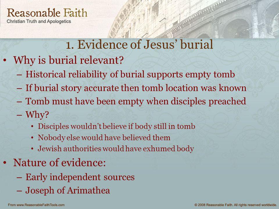 1. Evidence of Jesus' burial