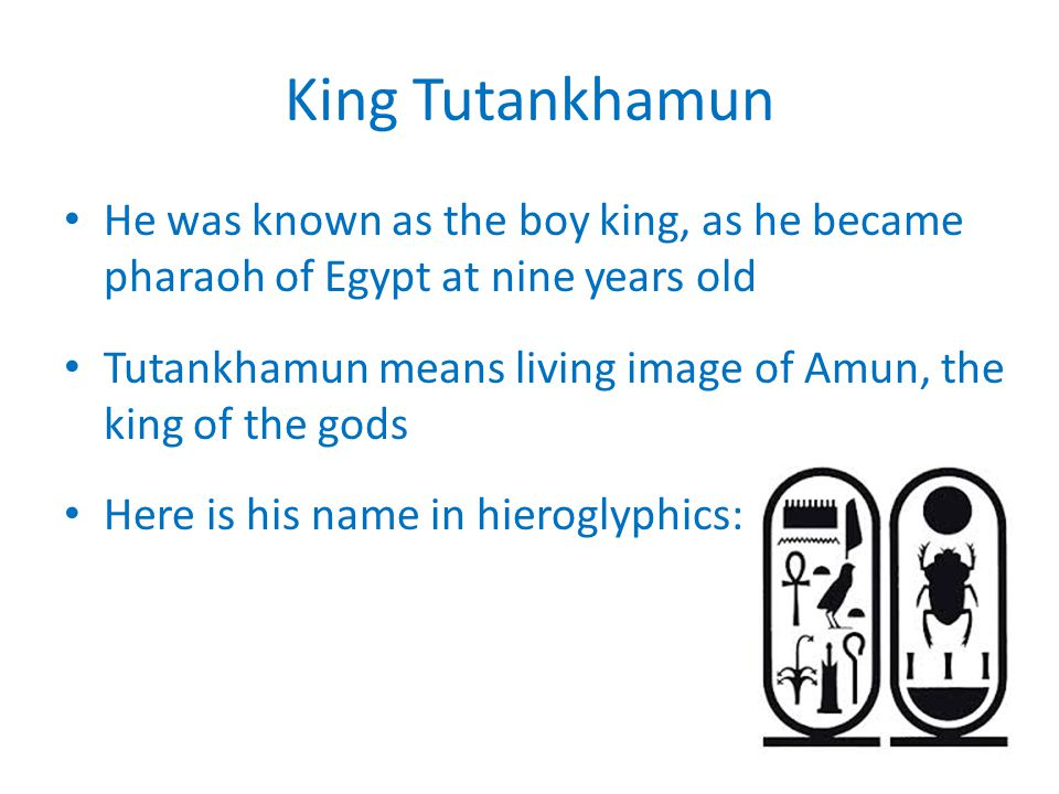 King Tutankhamun He was known as the boy king, as he became pharaoh of Egypt at nine years old.