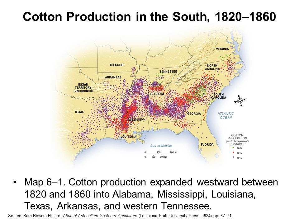 Cotton Production in the South, 1820–1860