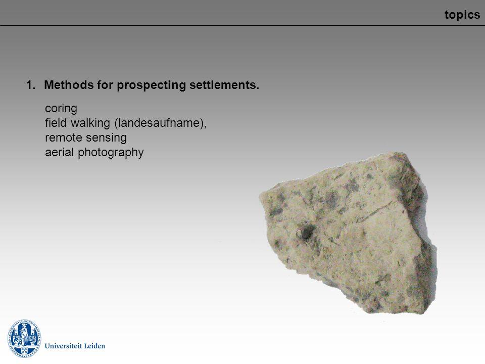 topics Methods for prospecting settlements. coring. field walking (landesaufname), remote sensing.
