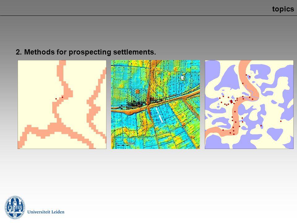 topics 2. Methods for prospecting settlements.