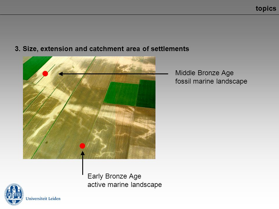 topics 3. Size, extension and catchment area of settlements. Middle Bronze Age. fossil marine landscape.