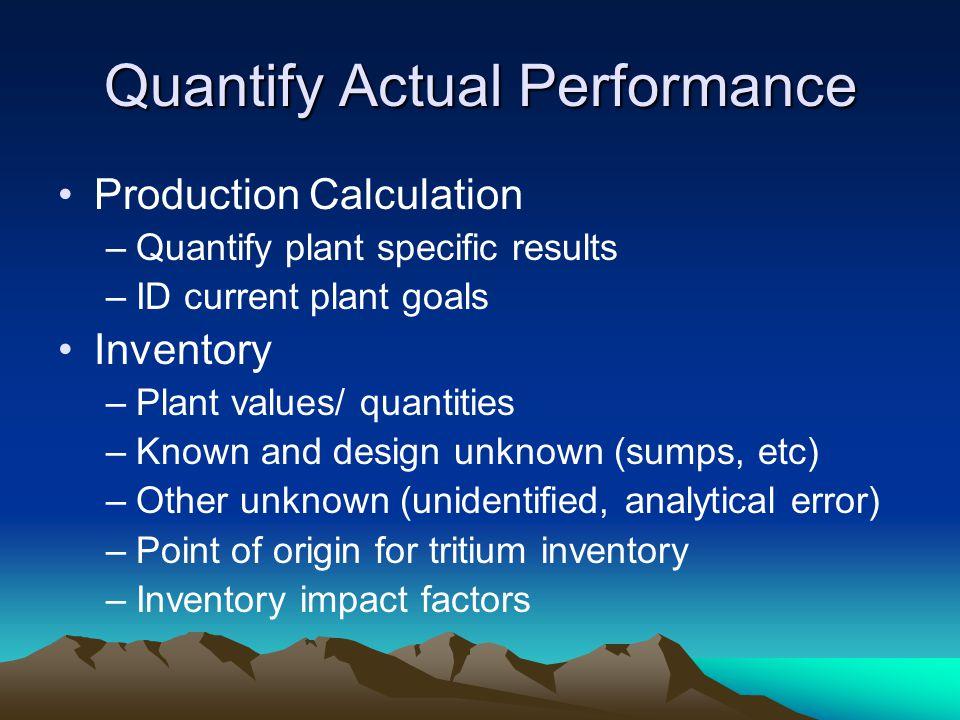 Quantify Actual Performance