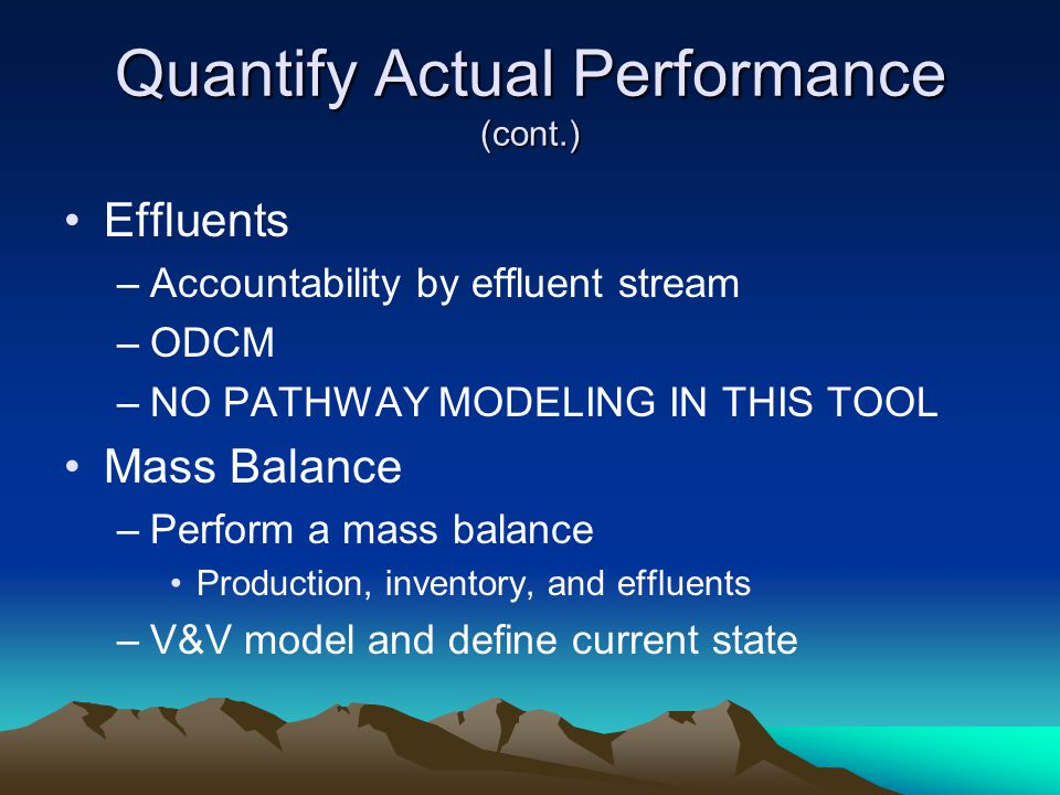 Quantify Actual Performance (cont.)