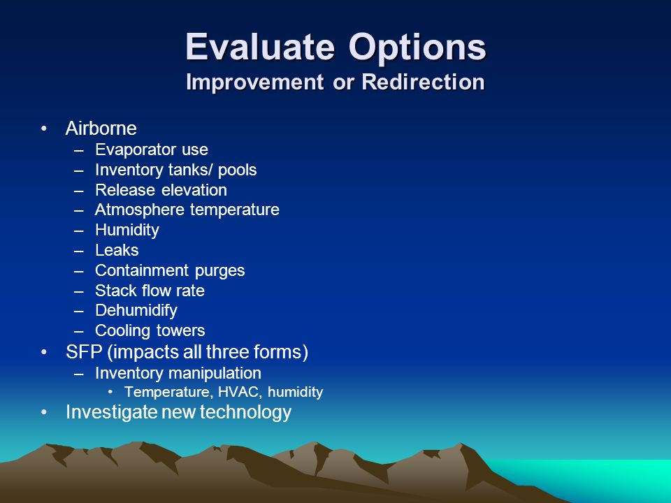 Evaluate Options Improvement or Redirection