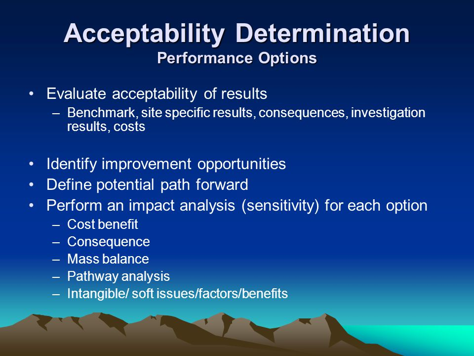 Acceptability Determination Performance Options