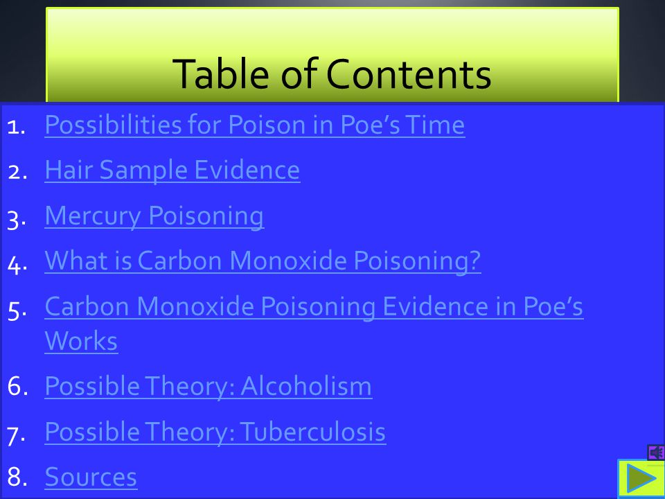 Table of Contents Possibilities for Poison in Poe's Time