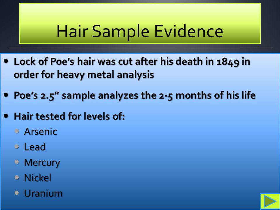 Hair Sample Evidence Lock of Poe's hair was cut after his death in 1849 in order for heavy metal analysis.