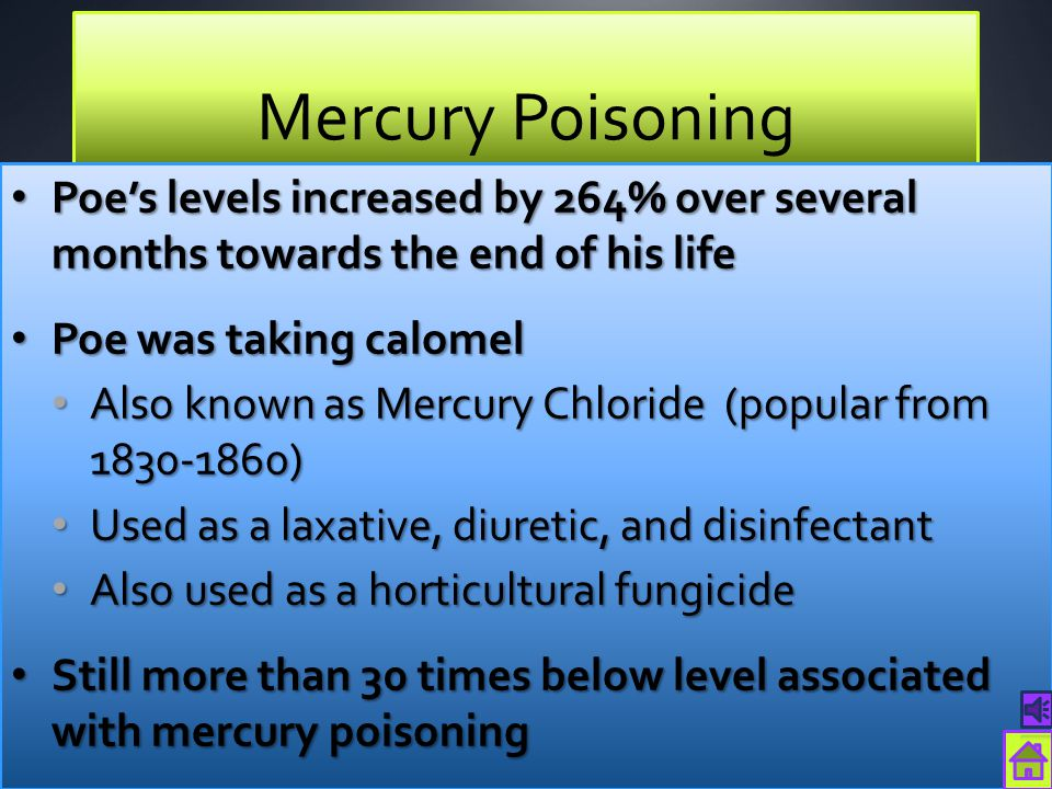 Mercury Poisoning Poe's levels increased by 264% over several months towards the end of his life. Poe was taking calomel.
