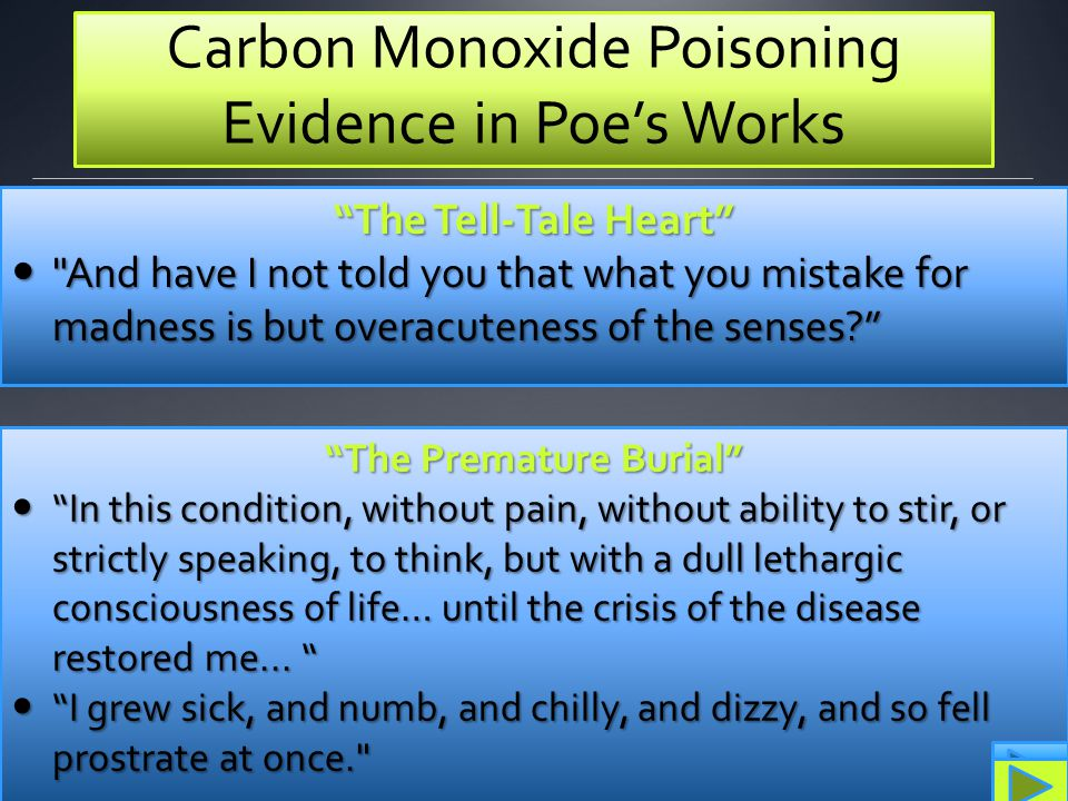 Carbon Monoxide Poisoning Evidence in Poe's Works