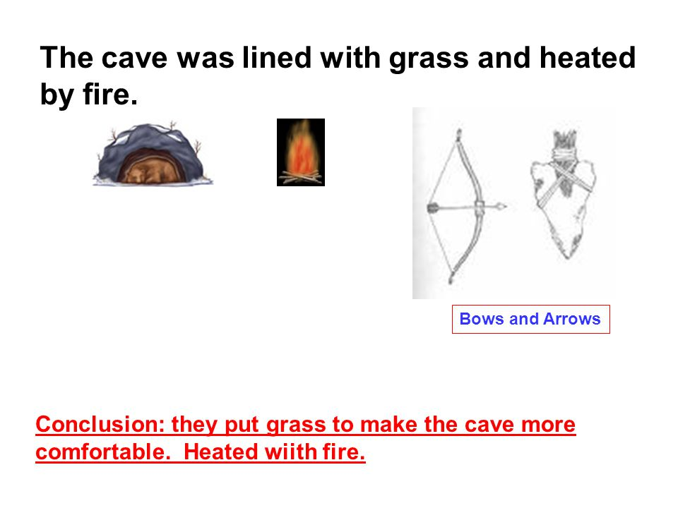 The cave was lined with grass and heated by fire.