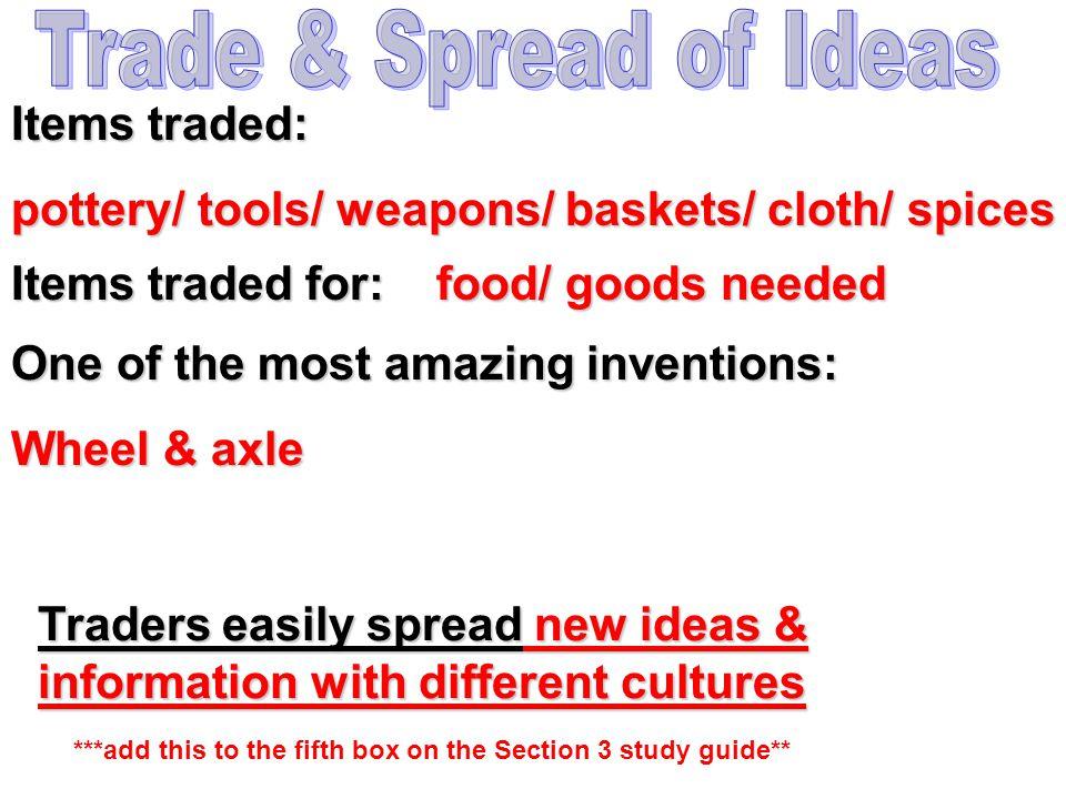 Trade & Spread of Ideas Items traded: