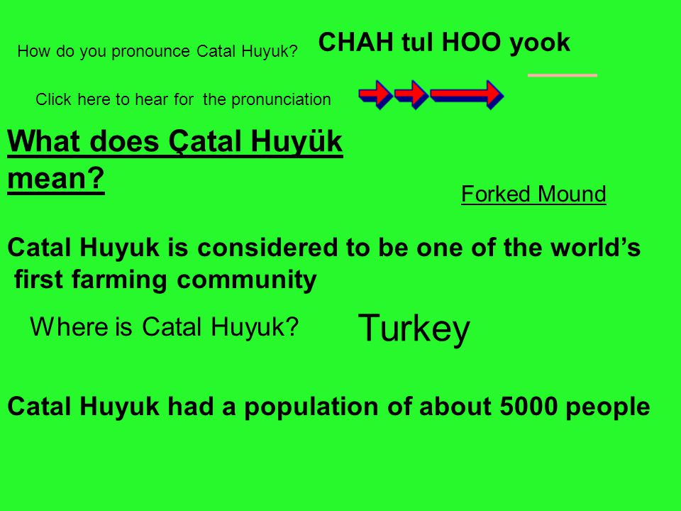Turkey What does Çatal Huyük mean CHAH tul HOO yook