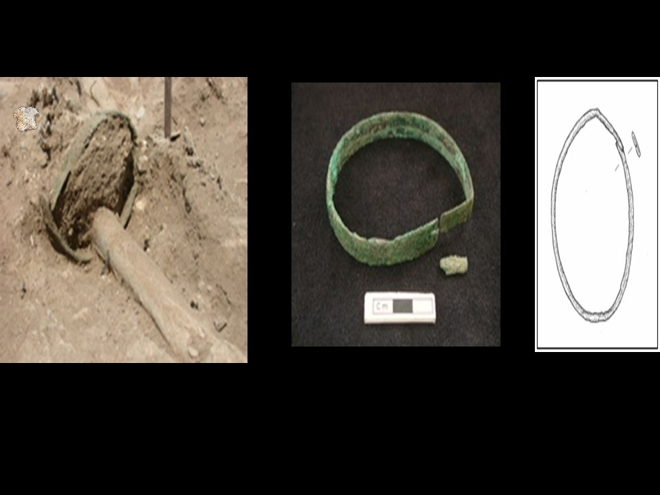 Copper armband found on one of the individuals excavated in the 4040 area. .