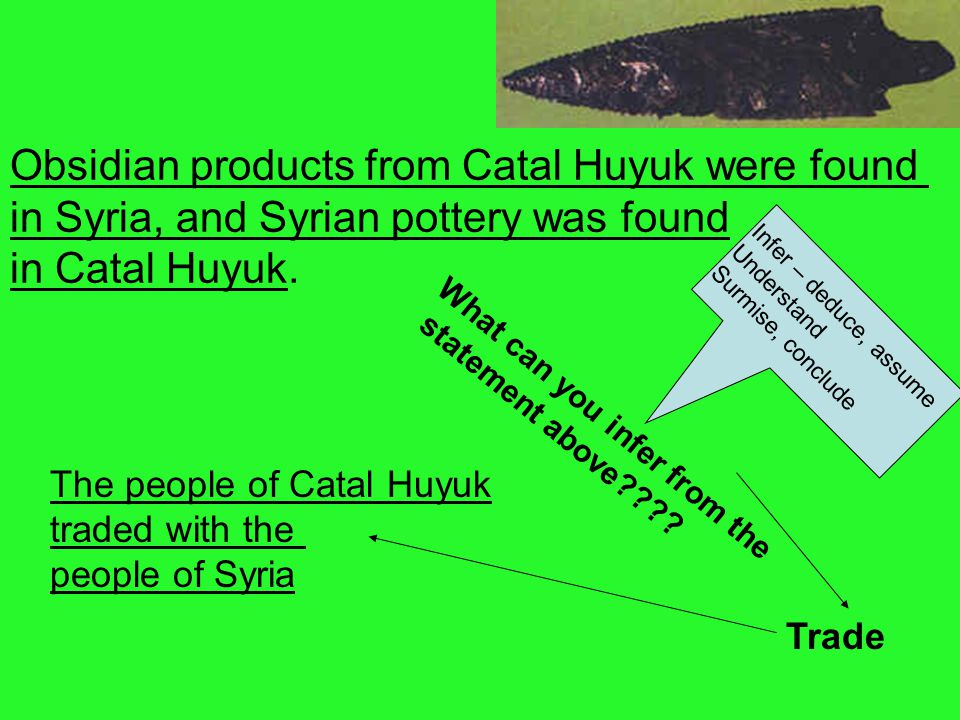 Obsidian products from Catal Huyuk were found