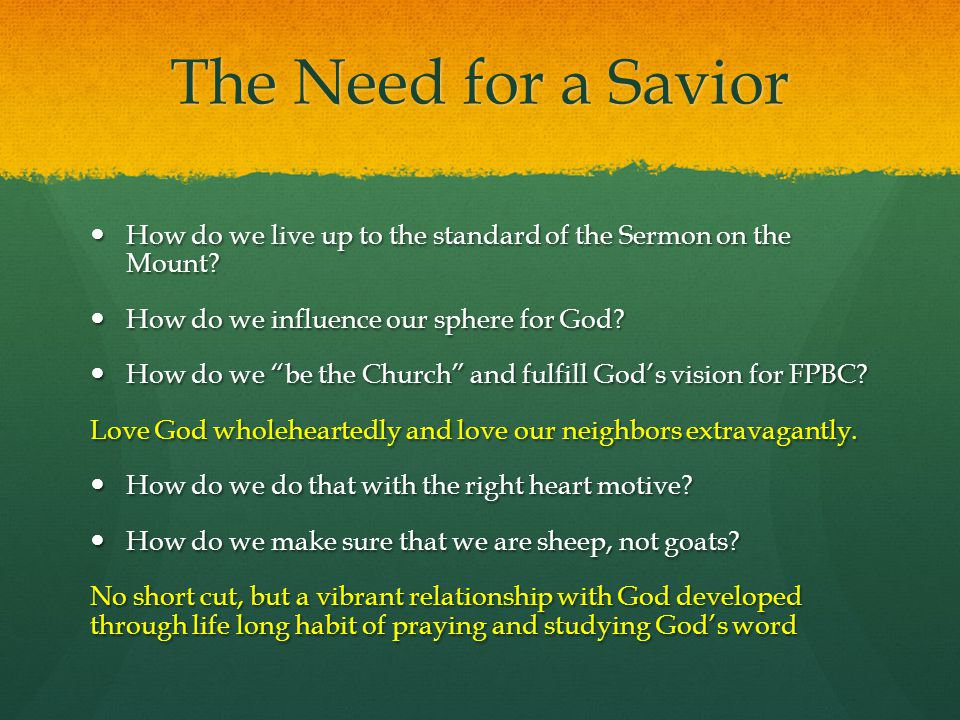 The Need for a Savior How do we live up to the standard of the Sermon on the Mount How do we influence our sphere for God