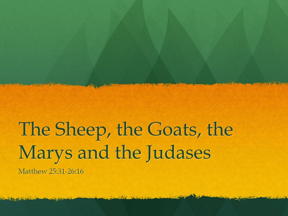 The Sheep, the Goats, the Marys and the Judases
