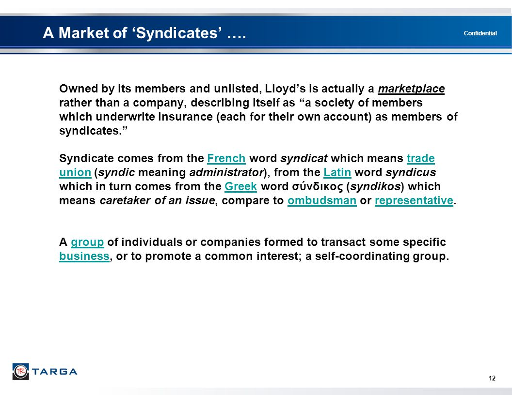A Market of 'Syndicates' ….