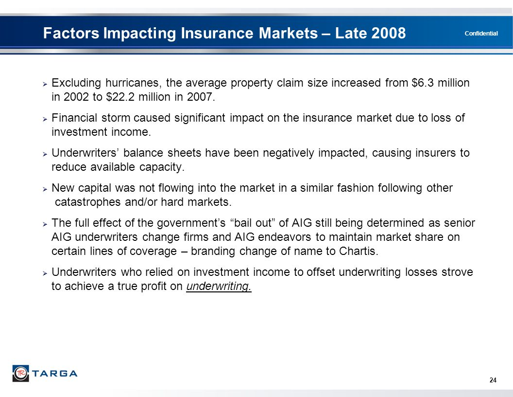 Factors Impacting Insurance Markets – Late 2008