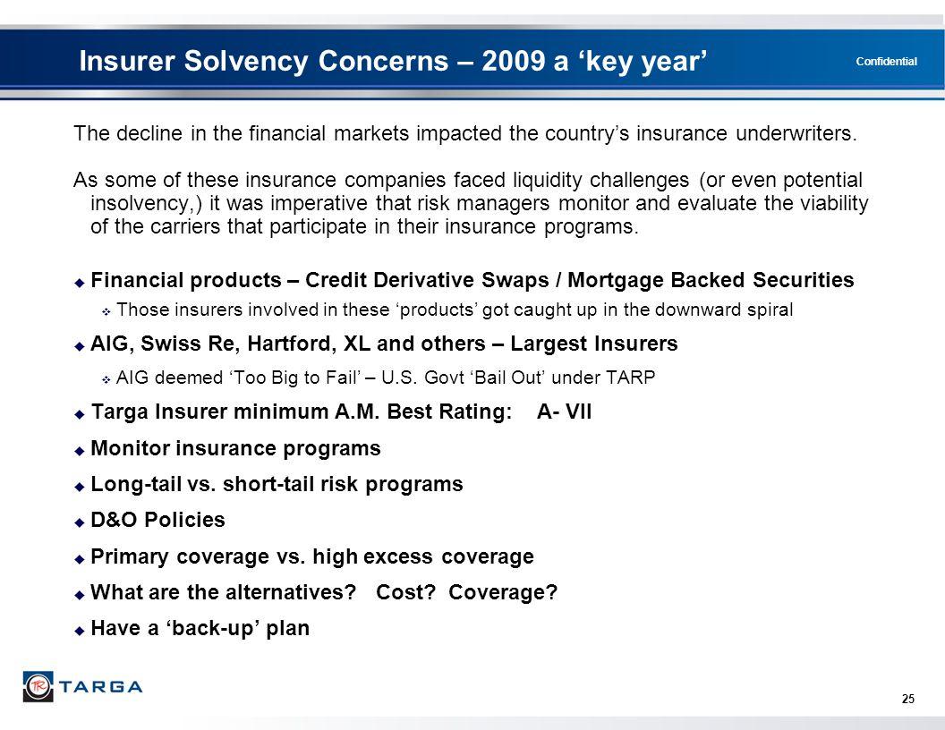 Insurer Solvency Concerns – 2009 a 'key year'
