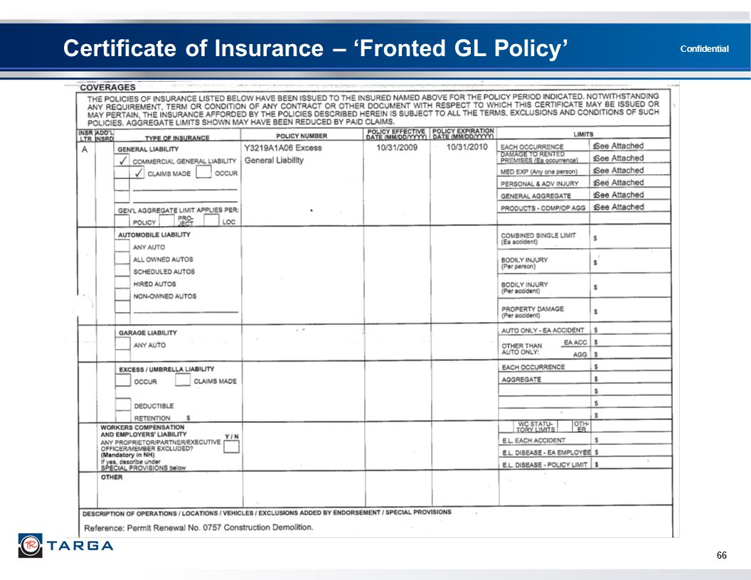Certificate of Insurance – 'Fronted GL Policy'