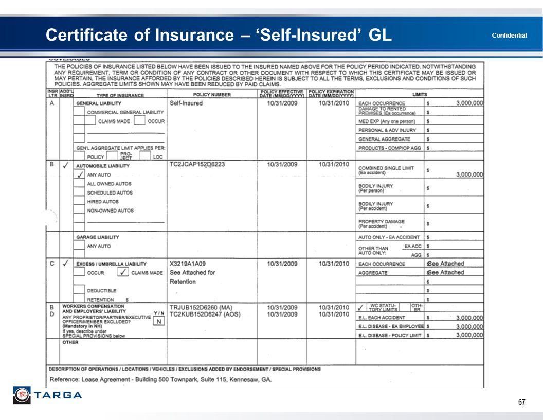 Certificate of Insurance – 'Self-Insured' GL
