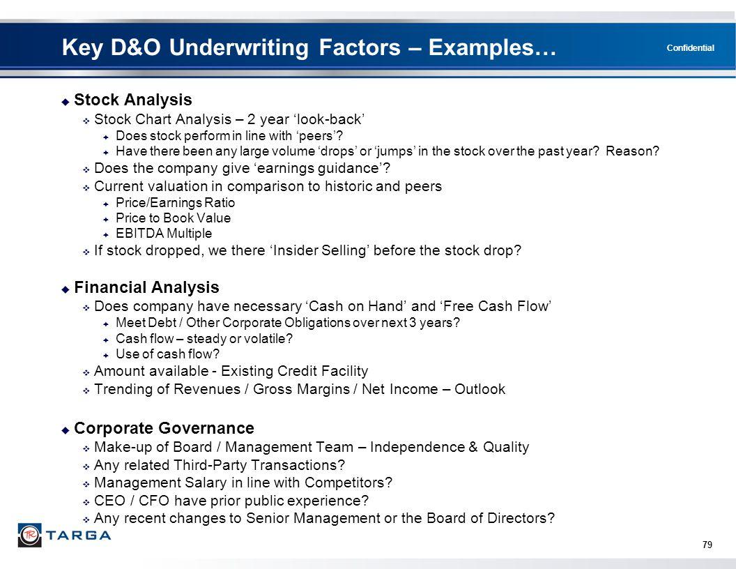 Key D&O Underwriting Factors – Examples…