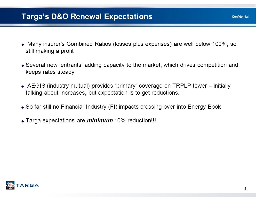Targa's D&O Renewal Expectations