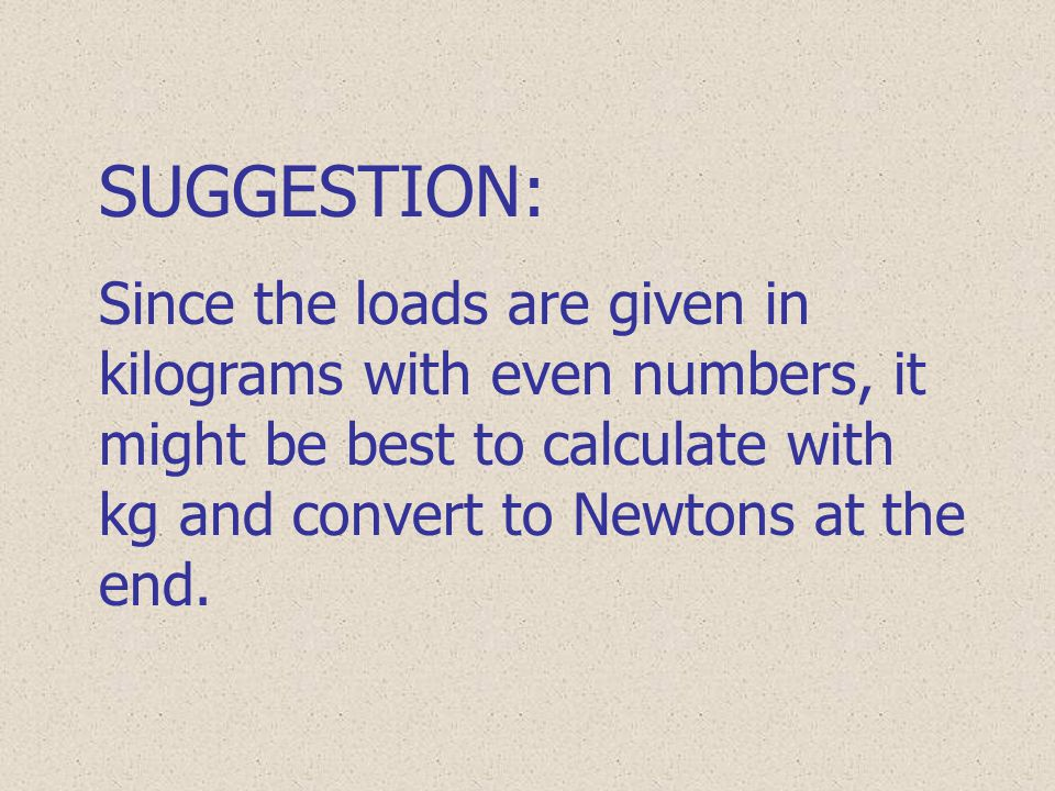 SUGGESTION: Since the loads are given in kilograms with even numbers, it might be best to calculate with kg and convert to Newtons at the end.