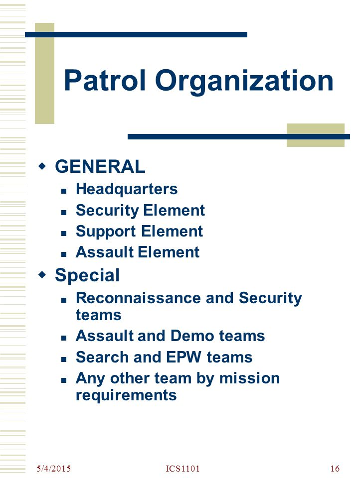 Patrol Organization GENERAL Special Headquarters Security Element