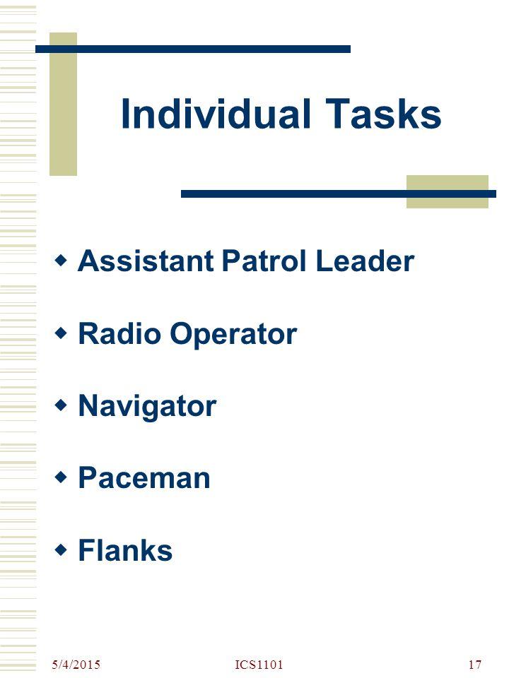 Individual Tasks Assistant Patrol Leader Radio Operator Navigator